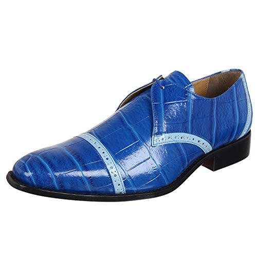 Liberty Men's Derby Cap Toe Dress Shoes Lizard Print Manmade Genuine Leather Lace Up Royal Blue