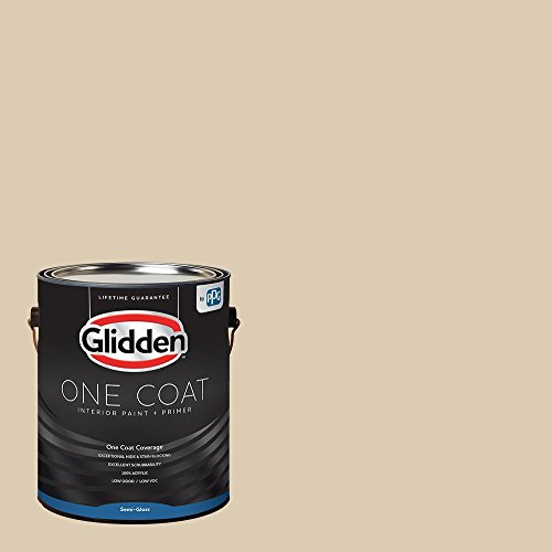 Glidden Interior Paint + Primer: Beige/Seriously Sand, One Coat, Semi-Gloss, 1-Gallon