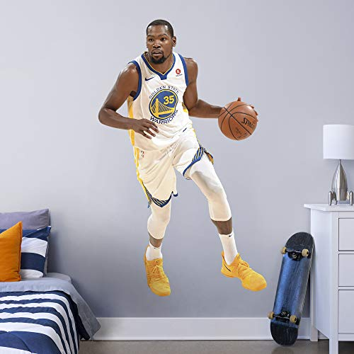 FATHEAD NBA Golden State Warriors Kevin Durant Kevin Durant- Officially Licensed Removable Wall Decal, Multicolor, Life-Size ()