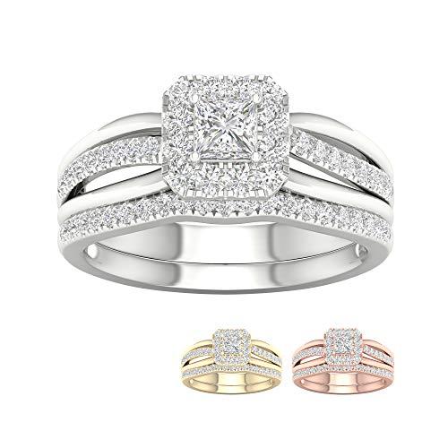 IGI Certified 14k Yellow Gold 5/8 Ct TDW Princess-Cut Diamond Frame Bridal Set (I-J, I2) ()