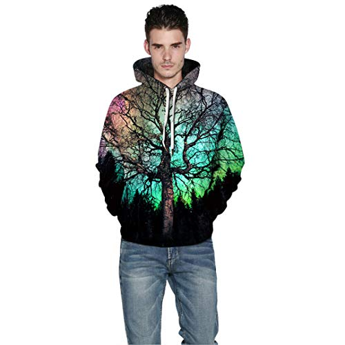 Amazon.com: 3D Pattern Print Hoodies Big Tree in Colorful Sunset Hoodie Men Women Sweatshirt Couples Tops S: Clothing