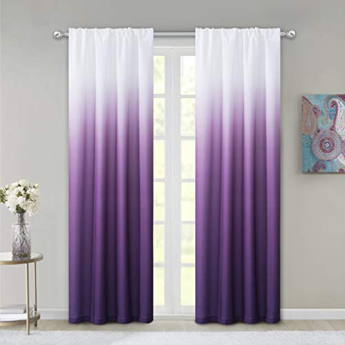 Dainty Home Ombre Woven Shades of Color Rod Pocket Curtain Panel Pair Complete Set of 2, 40