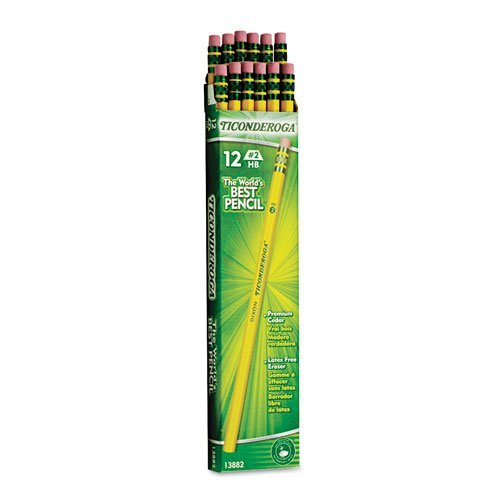 Dixon Ticonderoga Wood-Cased Pencils, #2 HB, Yellow, Box of 12 (3-Pack) (13882)