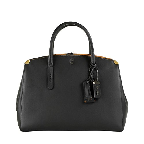 Coach Cooper Carryall Black Suede Tote Bag Black Leather