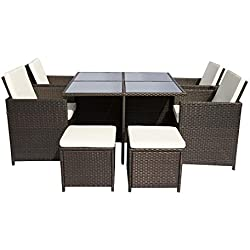 Leisure Zone 9 Piece Outdoor PE Rattan Sofa Set Wicker Patio Dining Set Garden Lawn Furniture Set (dark brown)
