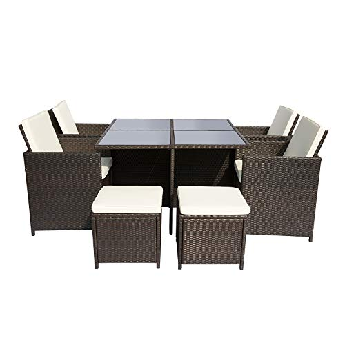 Leisure Zone Patio Furniture Set 3 Piece PE Rattan Wicker Chairs Grey Cushion with Coffee Table with Storage Box Outdoor Indoor Sofa (Dark Brown)