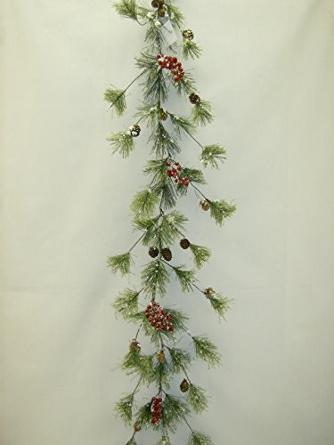 Snow Smokey Red Berry & Pinecone with Snow Tipped Branches Christmas Garland 6' by Chinese Unknown (Image #1)