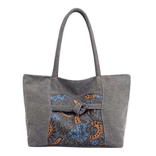 ZKOOO Capacidad de Playa Mano Azul Bolsa de Mujer Ocio Grande Bolsos Hombro Gris Imprimir Hobos Étnico Bolsa de Lona Shoppers Bolsa Bolso de de rfUx60wrEq
