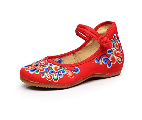 Lazutom Jane Mary De Chaussures Dcontracte Randonne Femme Broderie Rouge Style Chinois rq4zrg