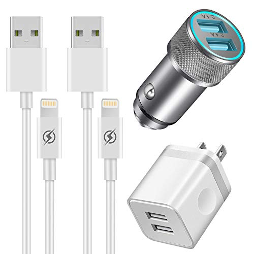 YANME Car Charger, Dual USB 2.4A Car Charger Adapter and 2-Port 2.1A USB Wall Charger with 2-Pack 3FT Charging Cable Cord Compatible with Phone X XR XS Max 8 7 6S 6 Plus 5S 4S, Pad, Pod More (4 in 1) (Apple Charger 4s Car Phone)