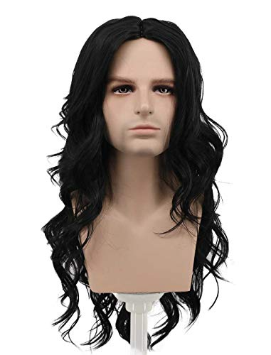 Karlery Mens Long Curly Black Wig 70s 80s Halloween Party Wig Costume Anime Wig -