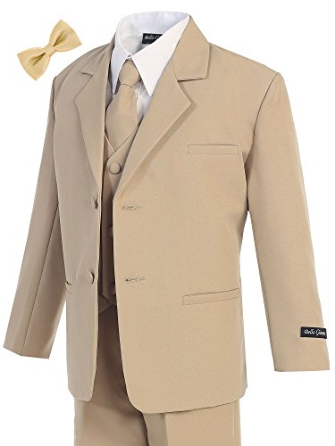 Bello Giovane Boys Khaki Formal Dress Suit Set (Free Bow Tie) (Boys Tan Suits)