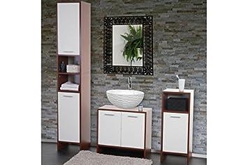 Badezimmer Set braun weiß Waschbeckenunterschrank ...