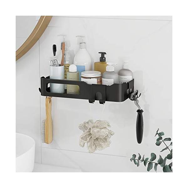 414qtttLtIL Duschkorb Duschregal schwarz Duschablage ohne Bohren, selbstklebend mit Haken aus Edelstahl Metall als Duschhalterung…