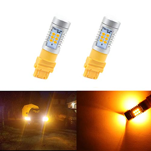 (3157 Led Bulb 3156 Turn Signal Bulb Extremely Bright Turn Signal Light 3057 Bulb 4057 4157 Parking Light Bulb 21pcs 2835 Chips Amber Yellow)