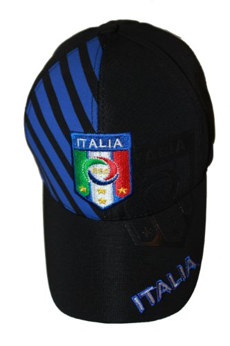 Italia Italy Black With Blue Stripes .. FIGC Logo FIFA Soccer World Cup .. FlexFit Hat Cap .. .. New by SUPERDAVES SUPERSTORE