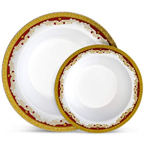 Laura Stein Designer Dinnerware Set | 32 Disposable Plastic Party Bowls | White Wedding Bowl with Burgundy Rim & Gold Accents | Set Includes 16 x 12 oz Soup Bowls + 16 x 5 oz Dessert Bowls | Vintage (Plastic Christmas Bowls)