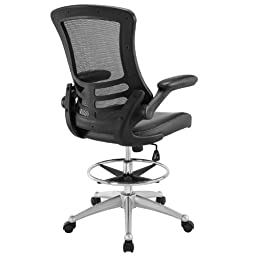 Modway Attainment Drafting Chair In Black - Reception Desk Chair - Tall Office Chair For Adjustable Standing Desks - Flip-Up Arm Drafting Table Chair…