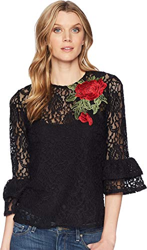 Scully Women's Honey Creek by Rose Applique Long Sleeve Lace Top Black Medium - Scully Lace Blouse