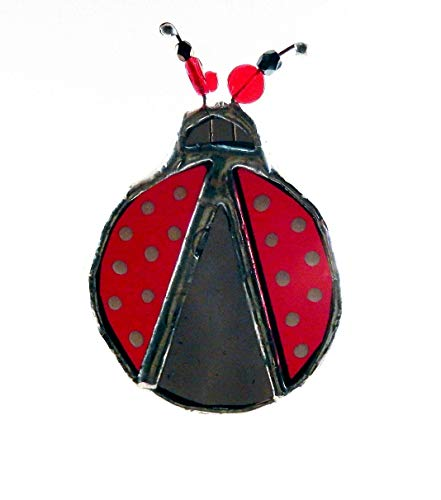 Stained Glass Ladybug with white dots, in red and black glass and beads, CLOSEOUT of Design, limited quantities, no raincheck