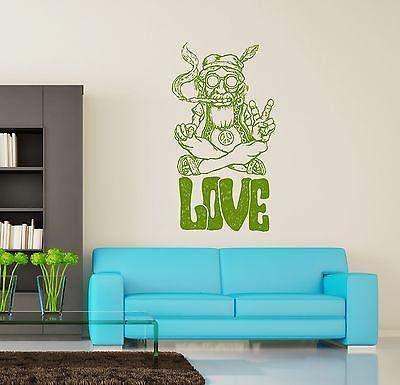 pegatinas de pared corazones pegatinas de pared infantiles Hippie Love Marihuana Weed Smoking