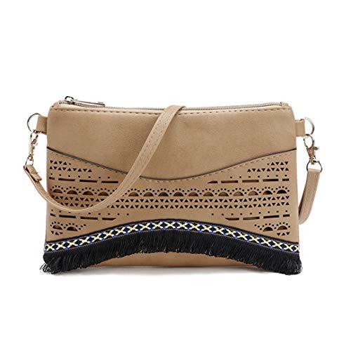 Women Clutch Bag PU Leather Shoulder Bags Envelope Bags Clutch Evening Bag Light Brown About 24cm 16cm