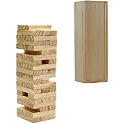 WE Games Wood Block Stacking Tower that Tumbles Down When you Play (12 Inch when Packaged)