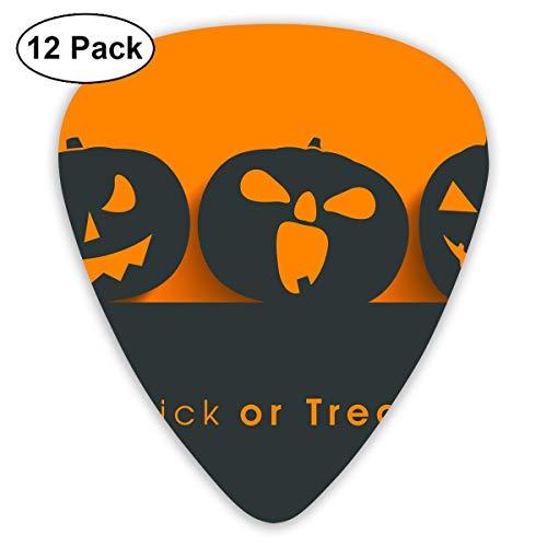 Custom Guitar Picks, Halloween Pumpkin Silhouette Trick Or Treat Guitar Pick,Jewelry Gift For Guitar Lover,12 Pack ()
