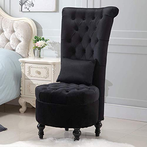 ANJ HOME Retro High Back Armless Chair Bedroom Furniture Upholstered Tufted Royal Accent Seat with Lumbar Support-CAH0008 (Black)