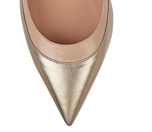 Zapatos XIE Zapatos Club Dedo del de 37 pie los Correas Señalaron del del Mujeres del Hebilla Los de Alto Baja Simples Boca Las Nocturno de Gold Las la Tacón la 40 Superficiales GOLD 0qrwRT0