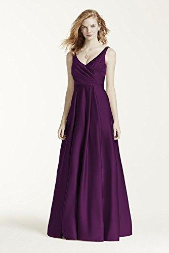 Davids Bridal Satin Tank Long Ball Gown Bridesmaid Dress Style F15741  Plum  6