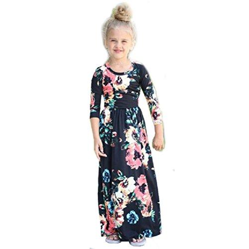 YCJemu Girls Dresses Floral Print Crew Neck Short Sleeve Empire Waist Maxi Dress with Pockets. (Black-1, L) (In Black Sleeve Short Dress Empire)