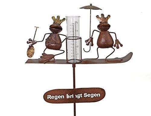 Regenmesser Metall / Gartenstecker Gartendeko Rostoptik Froschkönige Herbert