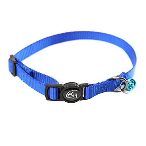 (Gloryelenxs Nylon Adjustable Cat Collar with Bell Reflective Cat Collar Pet Puppy Neck Belt Rope Fabric Cord)