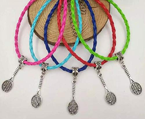 Multi Amazings 20Pcs/Lot Ancient Silver Tennis Racket Charm Pendant Mixed Leather Cord Bracelet DIY Women Sports Gifts
