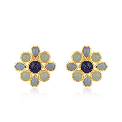 Chalcedony Floral Earrings - Chalcedony Gemstone Floral Stud 925 Sterling Silver Stud Earrings for Women Girls Jewelry