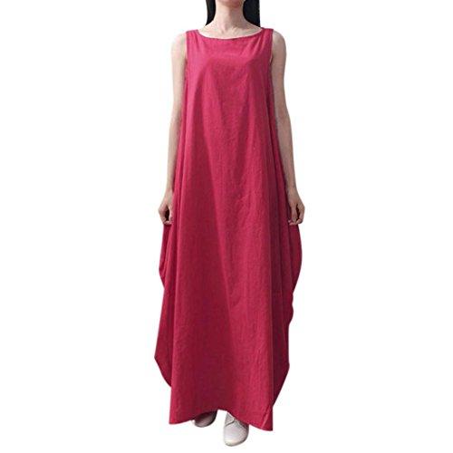 TOPUNDER Women Vintage Sleeveless Dress Casual Baggy Long Boho (Rose Caftan)