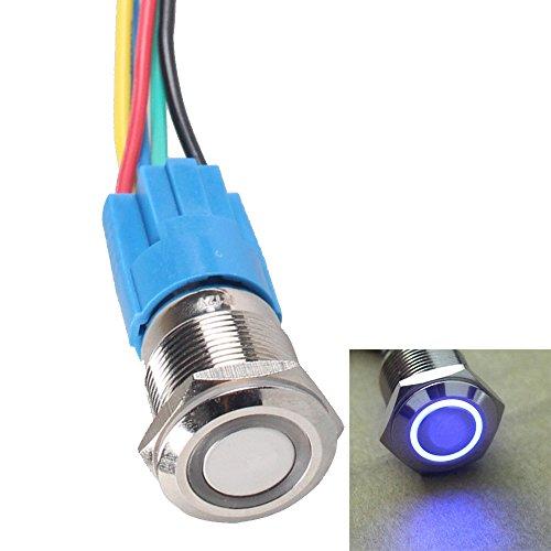 E Support 16mm 12V 3A Car Blue Light Angel Eye Metal Push Button Switch Socket