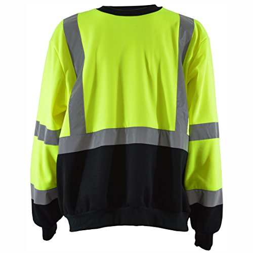- Petra Roc LBCSW-C3-XL Sweatshirt Crew Neck Lime/Black Two Tone, ANSI Class 3, XL