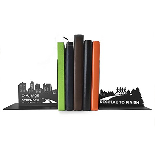 (Gone For a Run Running Metal Bookends | Decorative | Nonskid | Courage to Start | Inspiring Running Décor for Runners Room)