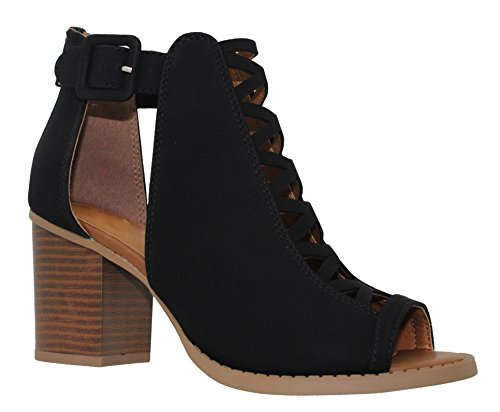 MVE Shoes Women's Platform Open Toe Ankle Strap High Heel Sandal, Black dispu Size 8 by MVE Shoes