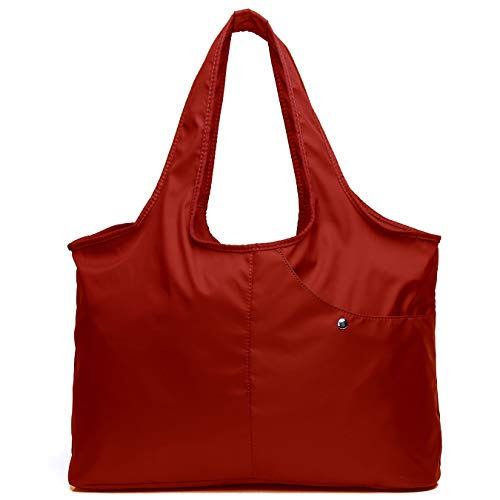 Shoulder Bag for Women, Waterproof Shopping Lightweight Work Purse and Handbag Travel Tote Oxford Nylon Large Capacity Hobo (8045_Red)