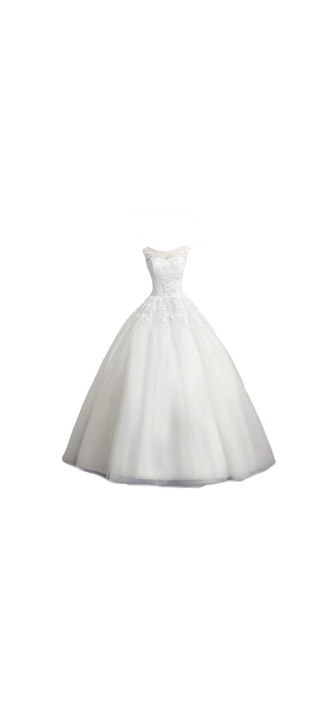 Women's Scoop Neck Ball Gown Wedding Dress Lace Bridal