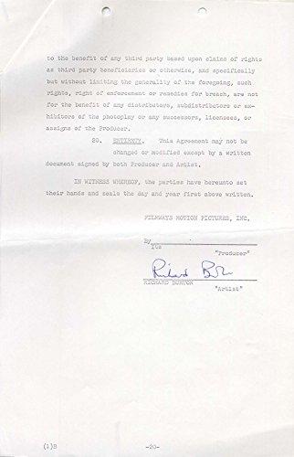 ACTOR Richard Burton (+) autograph, MOVIE CONTRACT signed (Richard Burton Actor)