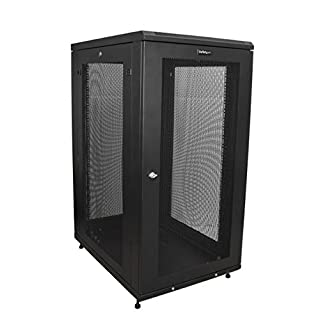 "StarTech.com 24U Server Rack Cabinet - 4-Post Adjustable Depth (2"" to 30"") Network Equipment Rack Enclosure w/Casters/Cable Management (RK2433BKM) (B071KW98RM) 