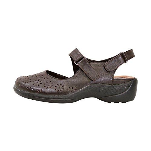 Peerage Fic Kylie Vrouwen Extra Breed Leer Slingback Comfortabele Sandaal Voor Dagelijks (grootte / Meetgids) Brown