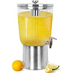 BirdRock Home Stainless Steel Beverage Dispenser with Ice Container, Stand & Spigot | Round | 3 Gallon | BPA Free Clear Acrylic