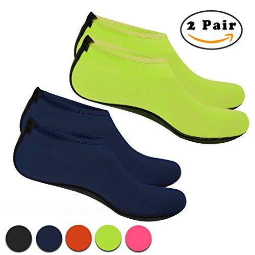 Nlife Barfuß Wasser Schuhe Aqua Socken für Beach Surf Pool schwimmen Yoga Aerobic (Männer & Frauen, M-XXL) Blau Grün