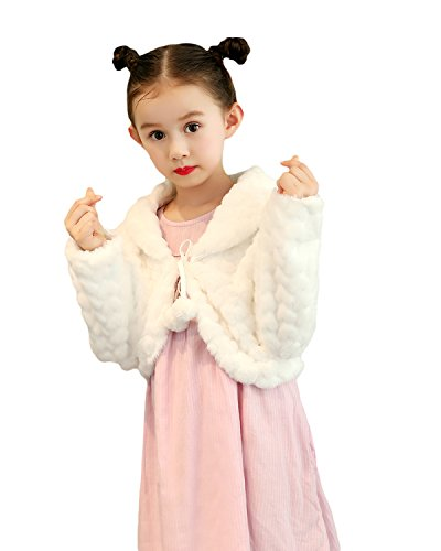 Liveinu Girls Faux Fur Shawl Flower Girl Wraps Cape Princess Wedding Bolero Shrug by Liveinu