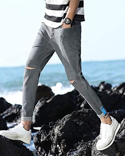 Uomo Cher Pantaloni Lavati Pants Stretch Chiaro Skinny Fit Strappati Jeans Da 1808grau Fori Colore Slim Di fn1IqHIa